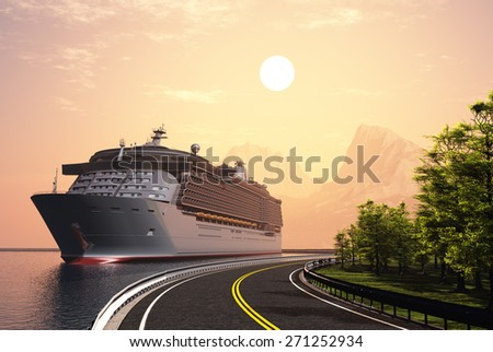 Cruise ship and highway at sunset. - stock photo