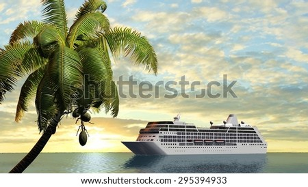 Cruise ship and palm trees in sunset