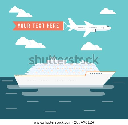 Cruise ship and plane travel poster design with a large passenger cruise liner on a voyage across the ocean on a tropical summer vacation and a plane flying overhead with copyspace for text