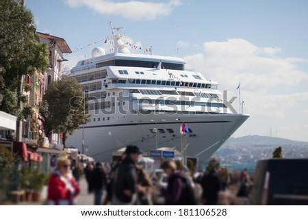 Cruise ship arrival  - stock photo