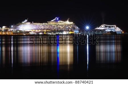 cruise ship at night, Venice - stock photo