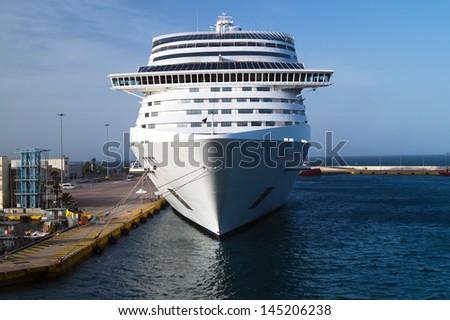 Cruise ship at Piraeus port, Greece - stock photo