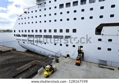 Cruise Ship at Port of Brisbane - stock photo