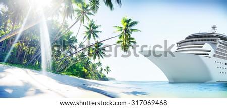 Cruise Ship Beach Sea Palm Tree Concept - stock photo