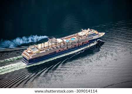 Cruise Ship, Cruise Liners On Hardanger fjorden, Norway - stock photo