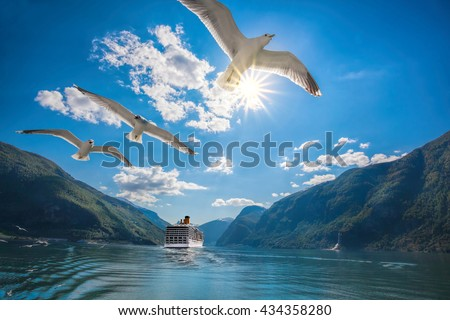 Cruise ship departure from Flam in  Norway