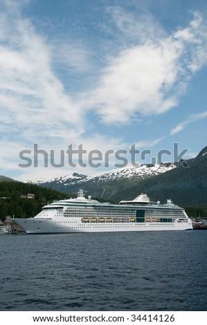 Cruise ship docked at harbor at Ketchikan, Alaska. - stock photo