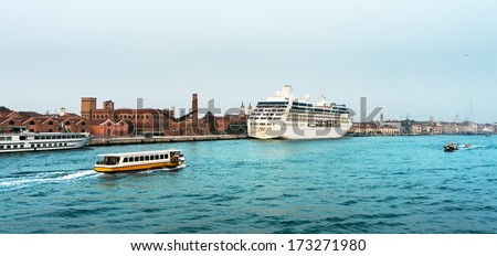 Cruise ship docked in old terminal in Venice, Italy - stock photo