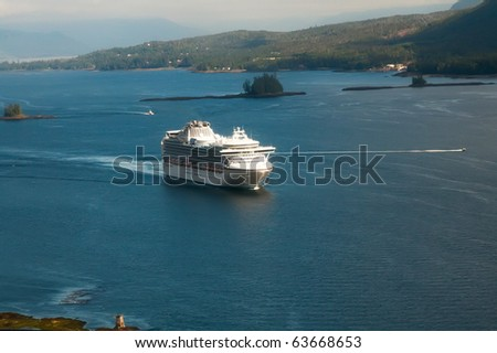 Cruise Ship Entering Port of Ketchikan, Alaska