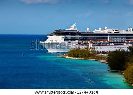 Cruise ship entering port of Nassau, Bahamas - stock photo