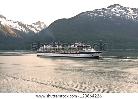Cruise ship entering the port of Skagway, Alaska from the Inside Passage waterway