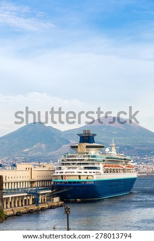 Cruise ship in a summer day in Naples, Italy