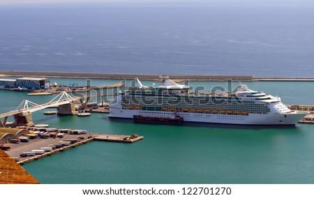 cruise ship in Barcelona sea port, Spain - stock photo