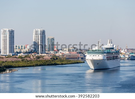 Cruise Ship in Channel Near Tampa leaving port