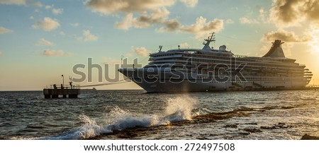 Cruise ship in dock - Curacao a tropical island in the Caribbean - stock photo