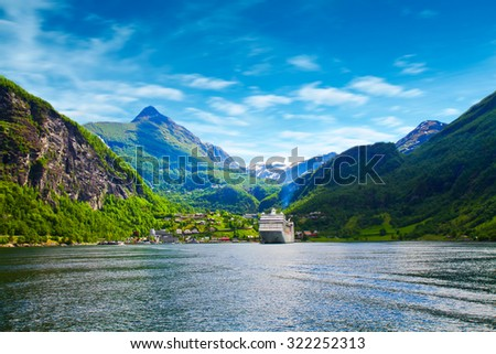 cruise ship in norway fjord