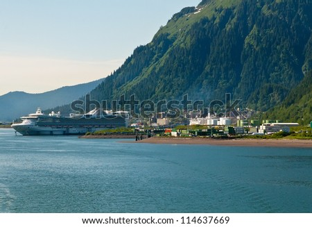 Cruise ship in port of Juneau, Alaska
