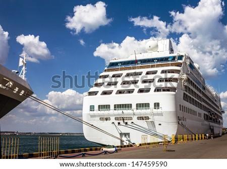 Cruise ship in port of Odessa, Ukraine, Black sea.  - stock photo