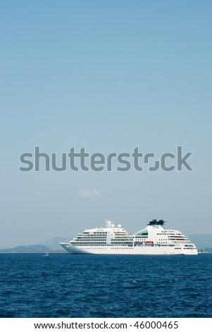 Cruise ship in the harbor from Pylos in Greece
