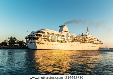 Cruise ship in the port - stock photo