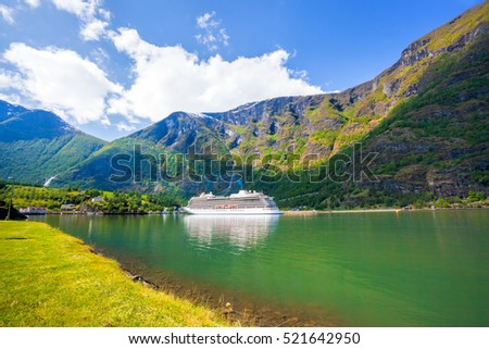 Cruise ship in the port of famous Flam, Norway.
