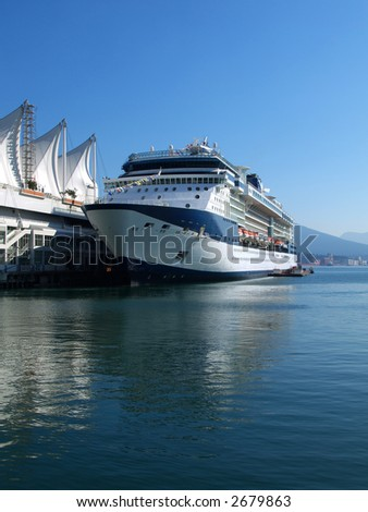 cruise ship in the port of Vancouver home of the 2010 winter olympic games - stock photo