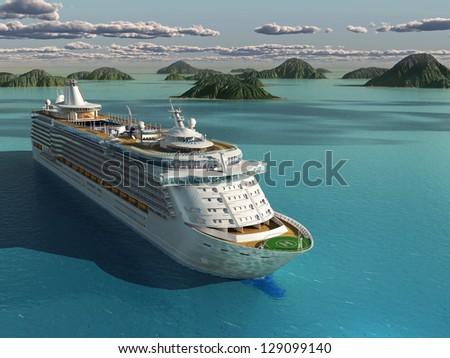 Cruise ship in the sea - stock photo