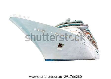 Cruise ship isolated on white background - stock photo