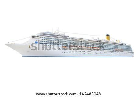 Cruise ship isolated under the white background - stock photo