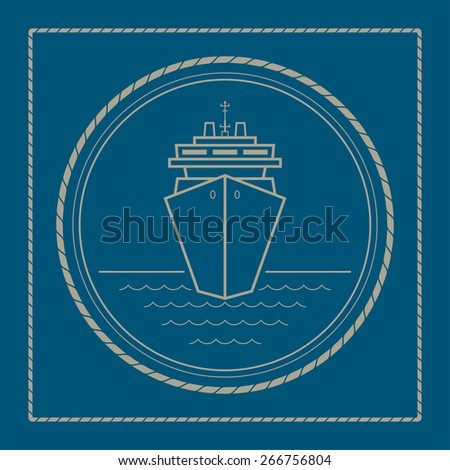 Cruise ship ,marine emblem with passenger ship or carrier, retro ornament liner - stock photo