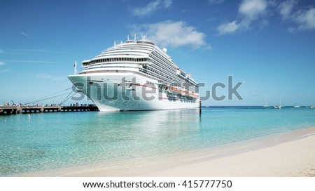 Cruise ship moored at Grand Turk island, the Caribbeans - stock photo