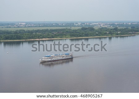 Cruise ship on Volga river in Nizhny Novgorod, Russia.