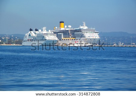 Cruise Ship Sailing from Port in Corfu, Greece.