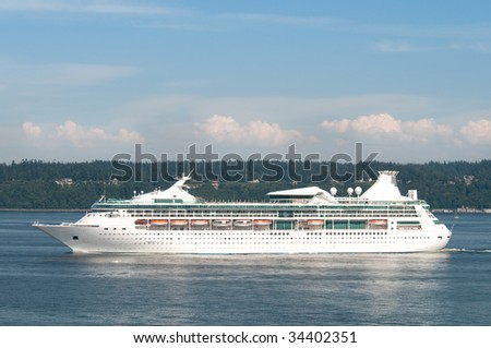 Cruise ship sailing in Alaska's Inside Passage.
