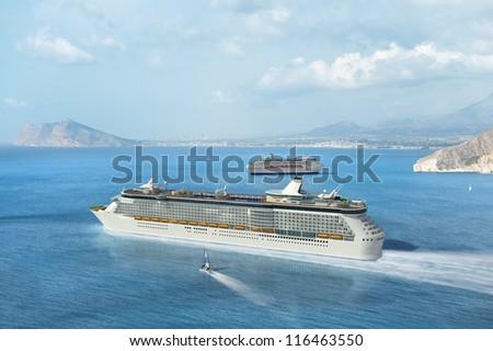 Cruise ship sailing on the Mediterranean - stock photo