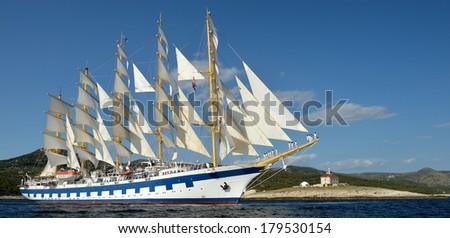 Cruise ship sailing. Panorama. Collection of yachts and ships - stock photo