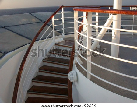 Cruise Ship Stairs On Board Leading To Lower Decks