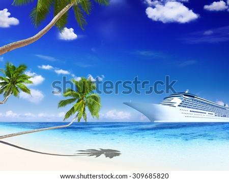 Cruise Ship Summer Beach Palm Tree Concept - stock photo