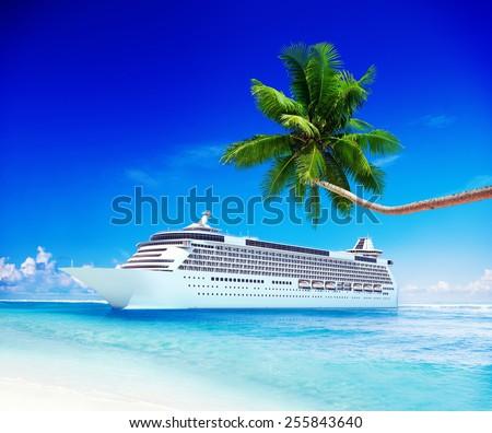 Cruise Ship Travel Beach Seascape Vacation Concept - stock photo