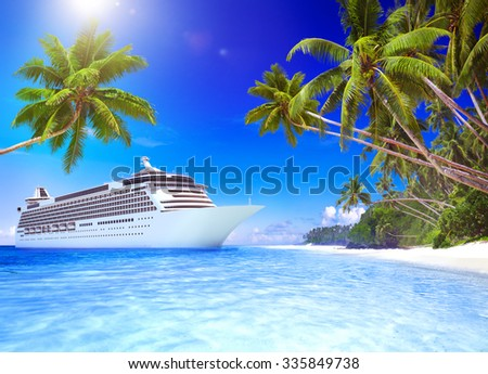 Cruise Ship Tropical Beach Vacation Travel Leisure Concept - stock photo