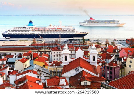 Cruise ships in Lisbon harbor at dusk. Portugal - stock photo