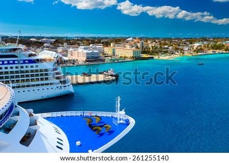 Cruise Ships in Nassau Bahamas port - stock photo
