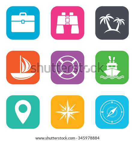 Cruise trip, ship and yacht icons. Travel, cocktails and palm trees signs. Sunglasses, windrose and swimming symbols. Flat square buttons.  - stock photo