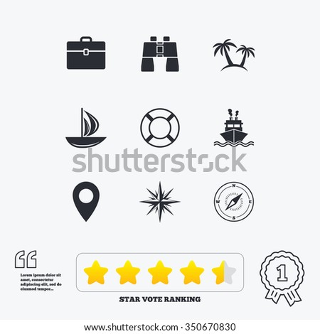 Cruise trip, ship and yacht icons. Travel, cocktails and palm trees signs. Sunglasses, windrose and swimming symbols. Star vote ranking. Award achievement and quotes. - stock photo
