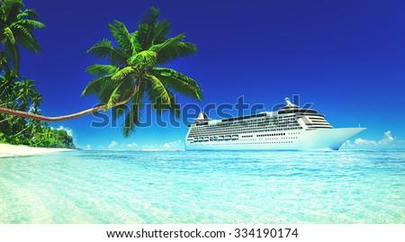Cruise Vacation Travel Beach Summer Trip Sky Sea Concept - stock photo
