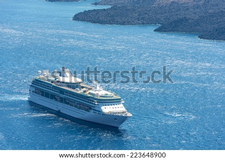Cruiser In The Ocean In Santorini, Greece - stock photo