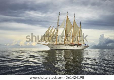 Cruises on sailing ships.  Yachting. Sailing - stock photo