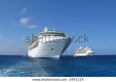 Cruiseships (Caribbean sea) - stock photo
