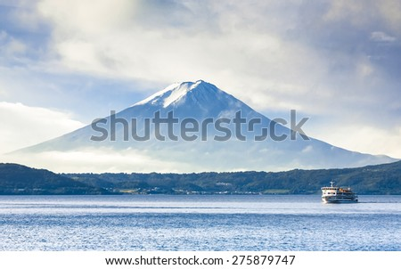 Cruising at Kawaguchi Lake with Fuji Mount background, Japan