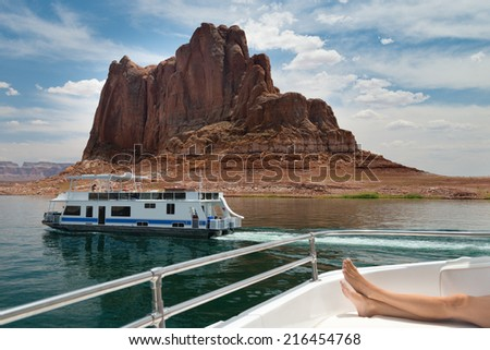 cruising on a boat in lake powell